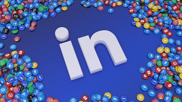 3d-weergave van social media-logo omgeven door veel van de meest populaire sociale netwerk glanzende pillen op blauwe achtergrond