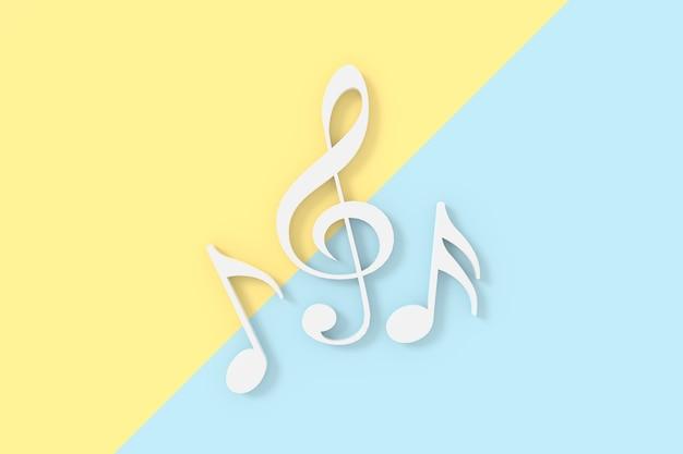 3d-weergave van solsleutel en muzieknotatie.