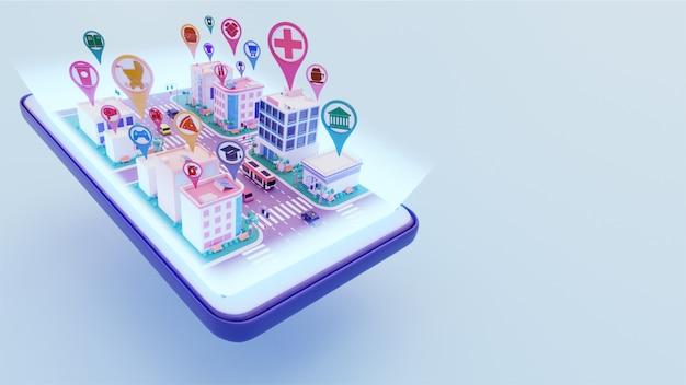 3d-weergave van stadslandschap verbonden met verschillende locatie-service app op smartphone scherm voor smart city concept.