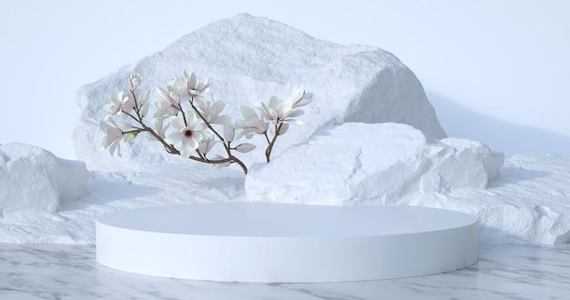 3d-weergave van stenen podium en kleine boom