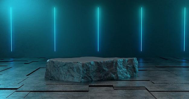 3d-weergave van stenen podium en neonlicht