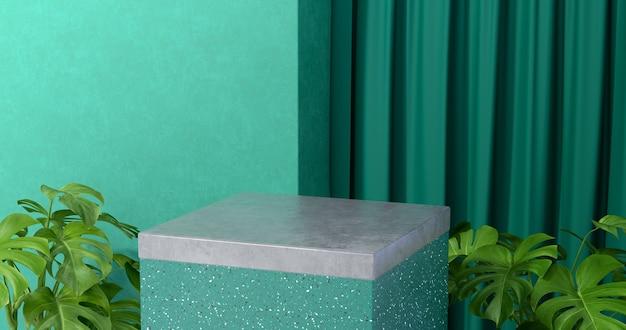 3d-weergave van stenen podium en planten