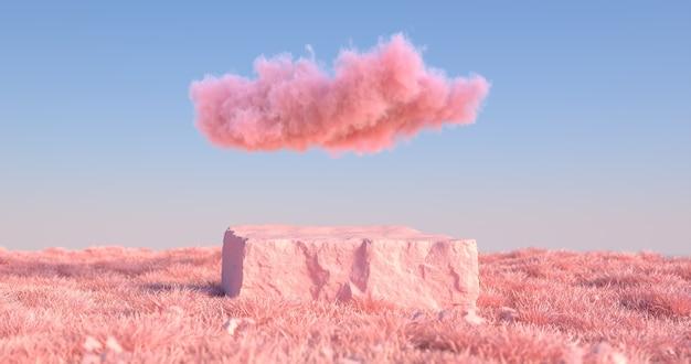 3d-weergave van stenen podium en roze gras