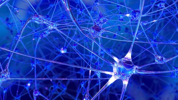3d-weergave van synapsen van kunstmatige intelligentie in een robotbrein
