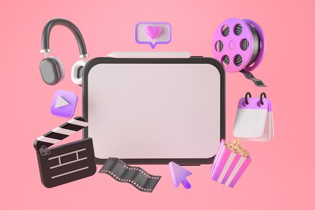 3d-weergave van tablet- en entertainment-apps.