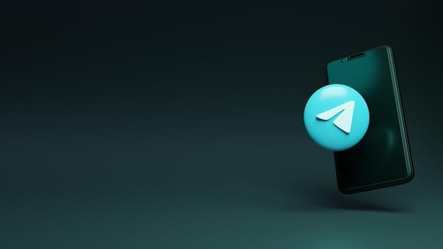 3d-weergave van telegram-logo met slimme telefoon