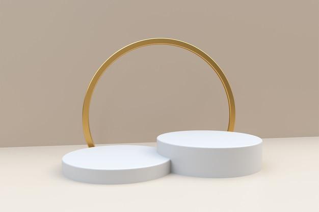 3d-weergave van twee witte podia en gouden ring op lichtbeige achtergrond