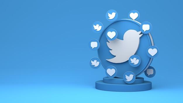 3d-weergave van twitter met kopieerruimte