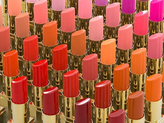 3d-weergave van vele tinten lippenstift