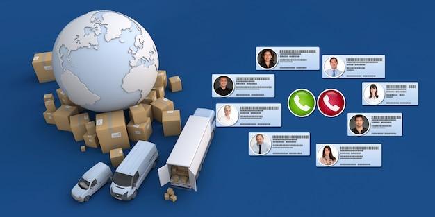 3d-weergave van verschillende zakelijke contacten die een teleconferentie voeren in een internationale distributiecontext