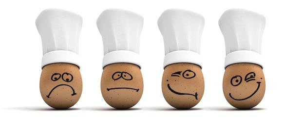 3d-weergave van vier eieren met koksmutsen met verschillende gezichtsuitdrukkingen