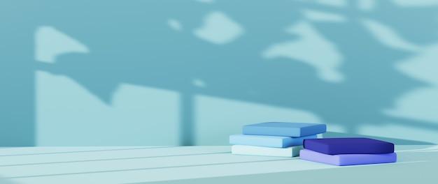 3d-weergave van vierkant podium in blauwe tinten achtergrond. mockup voor showproduct.