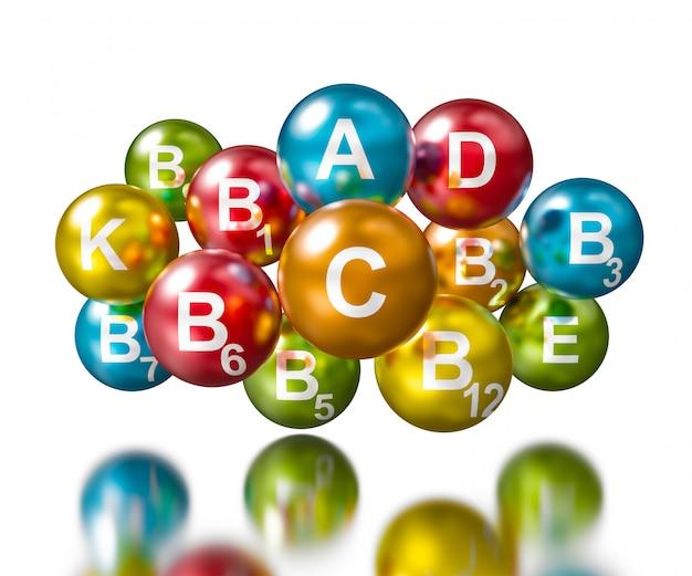 3d-weergave van vitaminen bollen