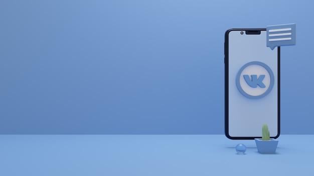 3d-weergave van vk-logo op smartphone