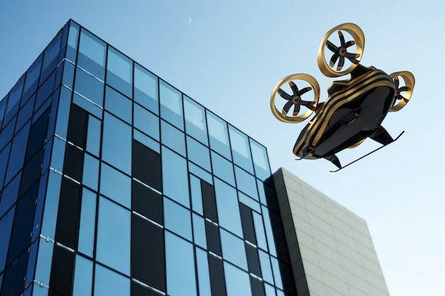 3d-weergave van vliegende gouden drone