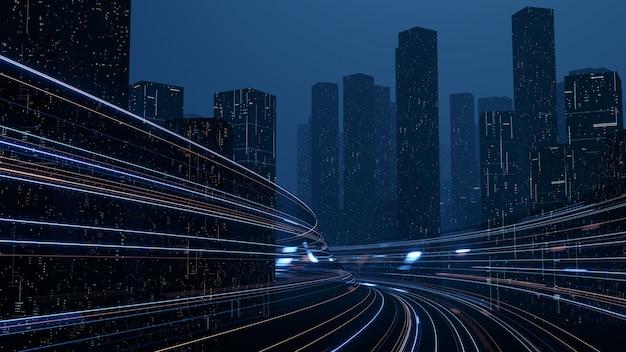 3d-weergave van warp-snelheid in hyperlus met vervagingslicht van de lichten van gebouwen in megastad bij nacht.