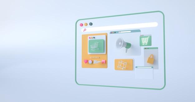 3d-weergave van web iconen.