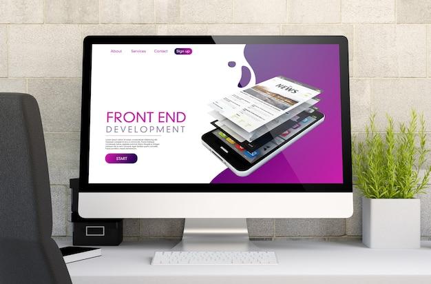 3d-weergave van werkruimte met computer met front-end.