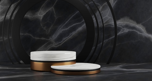 3d-weergave van wit marmer en gouden voetstuk stappen geïsoleerd op zwarte marmeren achtergrond, gouden ring, abstract minimaal concept, lege ruimte, minimalistische luxe
