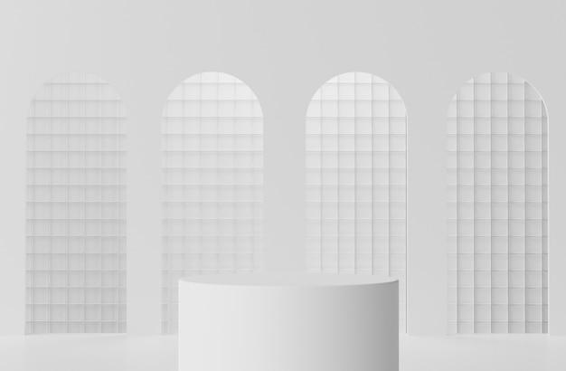 3d-weergave van wit marmer toont podiumscène voor mock-up en productpresentatie met minimale achtergrond.