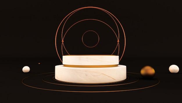 3d-weergave van wit marmeren voetstuk geïsoleerd op zwarte achtergrond, luxe minimalistische mockup