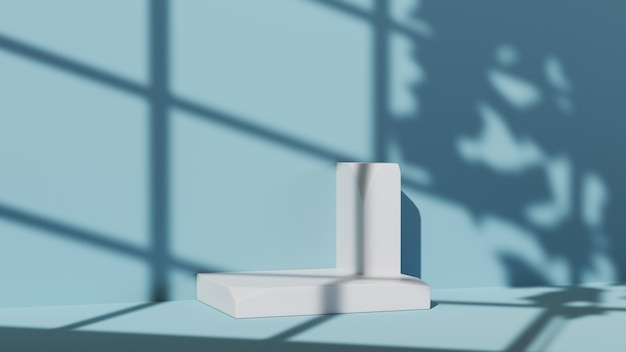3d-weergave van wit podium voor het weergeven van producten op de achtergrond van een blauwe kamer. mockup voor showproduct.