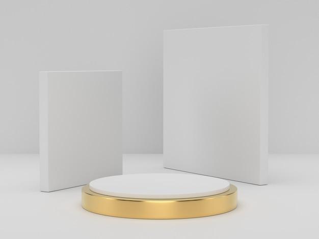 3d-weergave van witgoud voetstuk podium op duidelijk achtergrond, abstracte minimale podium lege ruimte voor cosmetische schoonheidsproduct,