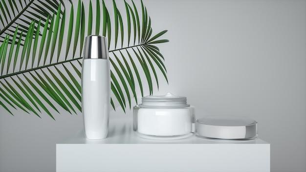 3d-weergave van witte cosmetische crème flessen voor productvertoning
