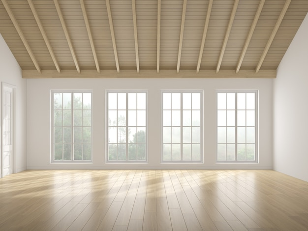 3d-weergave van witte lege ruimte met houten vloer en zonlicht werpen schaduw op de muur. windows en natuur achtergrond.