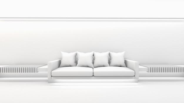 3d-weergave van woonkamer interieur, sofa en kussen, mockup op wit scherm
