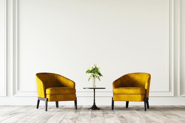 3d-weergave van woonkamer met gele fauteuil en bloemen.