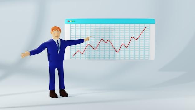 3d-weergave van zakenman en grafiek. zaken online en e-commerce op het web.