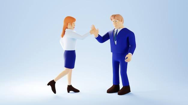 3d-weergave van zakenvrouw en man. business team en handel.
