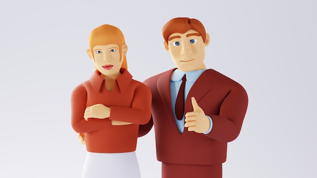 3d-weergave van zakenvrouw en man. zakelijk team.