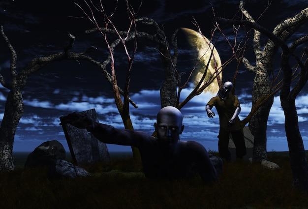 3d-weergave van zombies in een spookachtig landschap