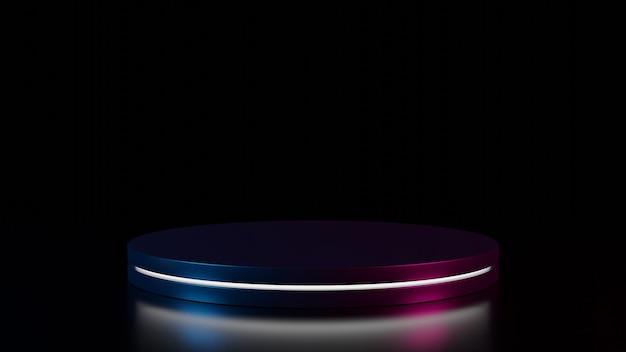 3d-weergave van zwart cirkelpodium met wit neonlicht