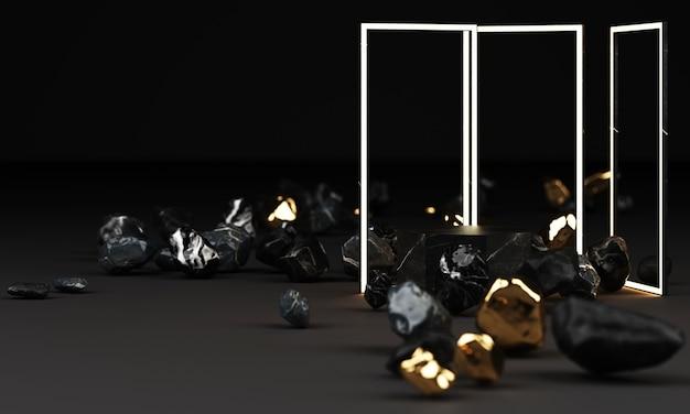 3d-weergave van zwart marmeren voetstuk geïsoleerd op zwart met led-verlichting frame en vrije vorm rock