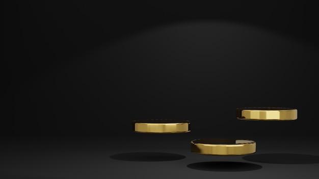 3d-weergave van zwart met goud en zwarte productstandaard