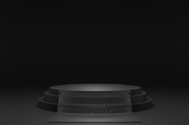 3d-weergave van zwart podium
