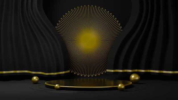 3d-weergave van zwarte gordijnen met luxe gouden ring aan de achterkant op zwarte achtergrond
