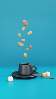 3d-weergave van zwarte kopje koffie met koffiebonen op blauwe achtergrond. 3d render illustratie.