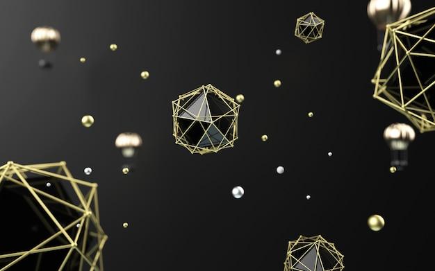 3d-weergave van zwarte samenvatting met gouden lantaarns voor productvertoning