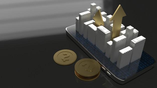 3d-weergave voortbouwend op mobiele telefoon