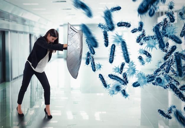 3d-weergave. vrouw beschermt met het schild door een aanval van bacteriën