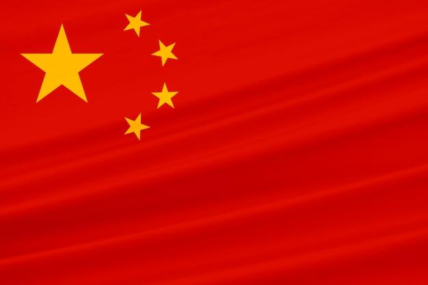 3d-weergave. wapperende vlag van de nationale republiek china voor achtergrond en textuur.
