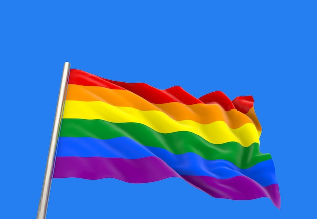 3d-weergave. winderige golvende lgbtq-regenboogvlag met het knippen van weg op blauwe hemel wordt geïsoleerd die.