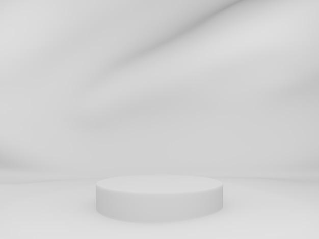 3d-weergave. wit podium met golfde achtergrond