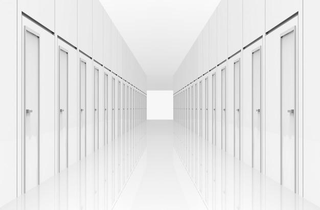 3d-weergave. witte gangdeuren met licht en het einde van de weg. meerdere selectie naar het doel of succes in het bedrijfsconcept.