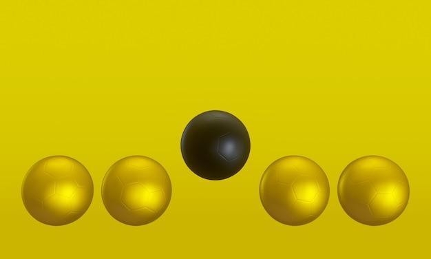 3d-weergave. zwart en goud voetbal op gele achtergrond