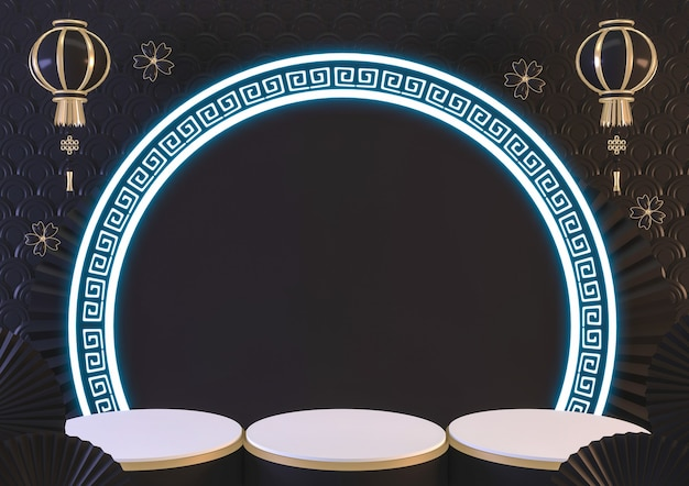 3d-weergave. zwart podium en licht neon tonen geometrisch cosmetisch product.
